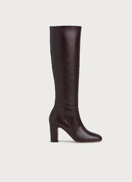 Kristen Bordeaux Nappa Leather Knee Boots