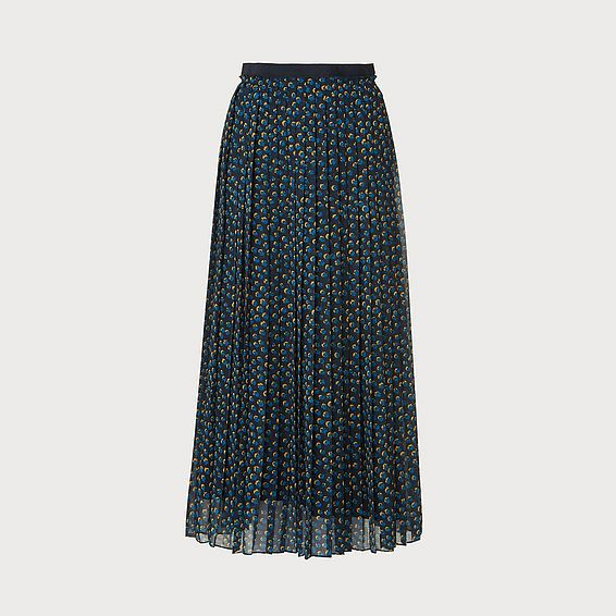 Avery Spot Print Pleated Navy Midi Skirt