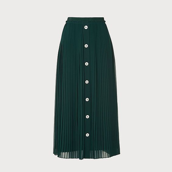 Fozette Green Pleated Midi Skirt