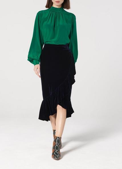 Freud Navy Ruffle Velvet Skirt