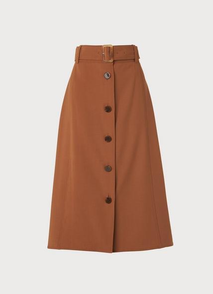 Oda Brown A-Line Wool Blend Skirt