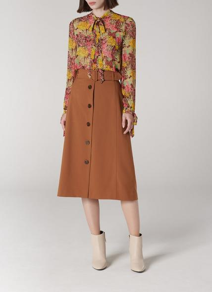 Oda Brown A-Line Wool Blend Skirt