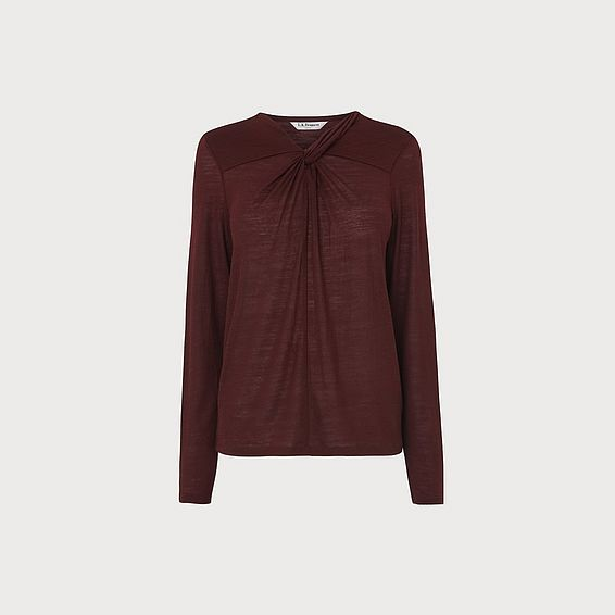 Sicily Aubergine Twist Neck Jersey Top
