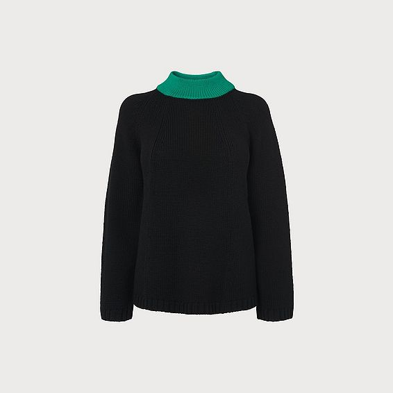 Audie Black Merino Wool Jumper