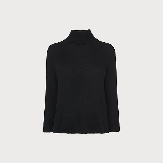 Brett Black Turtle Neck Merino Wool Jumper