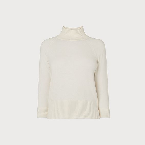 Brett Ivory Turtle Neck Merino Wool Jumper