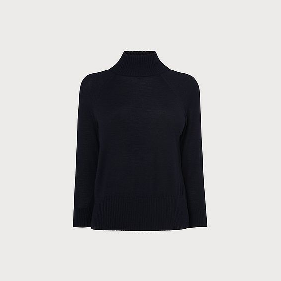 Brett Navy Turtle Neck Merino Wool Jumper