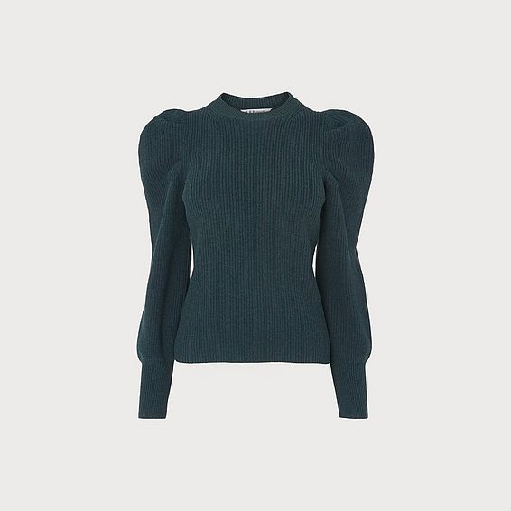 Kristen Green Wool Blend Exaggerated Sleeve Jumper