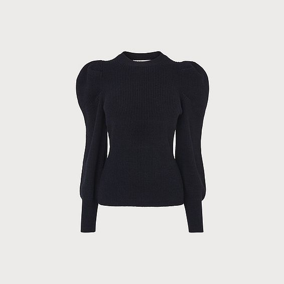 Kristen Navy Exaggerated Sleeve Jumper