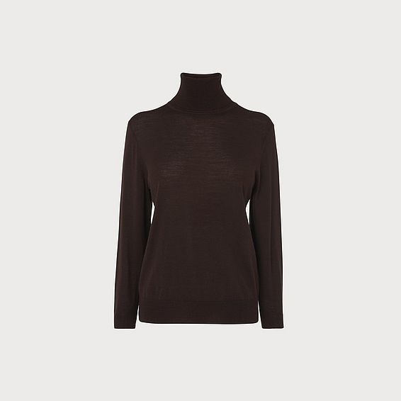 Peggy Brown Roll Neck Wool Jumper