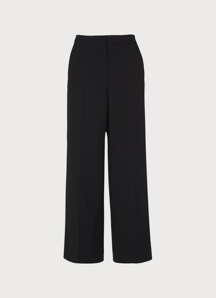 Florence Black Wool Blend Wide-Leg Trousers