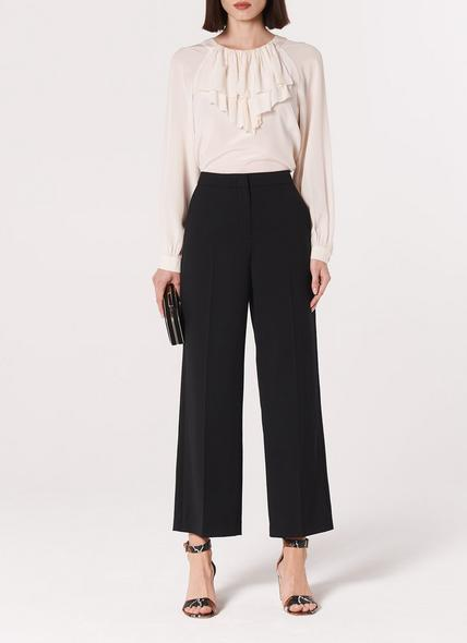 Florence Black Wool Blend Wide-Leg Trousers