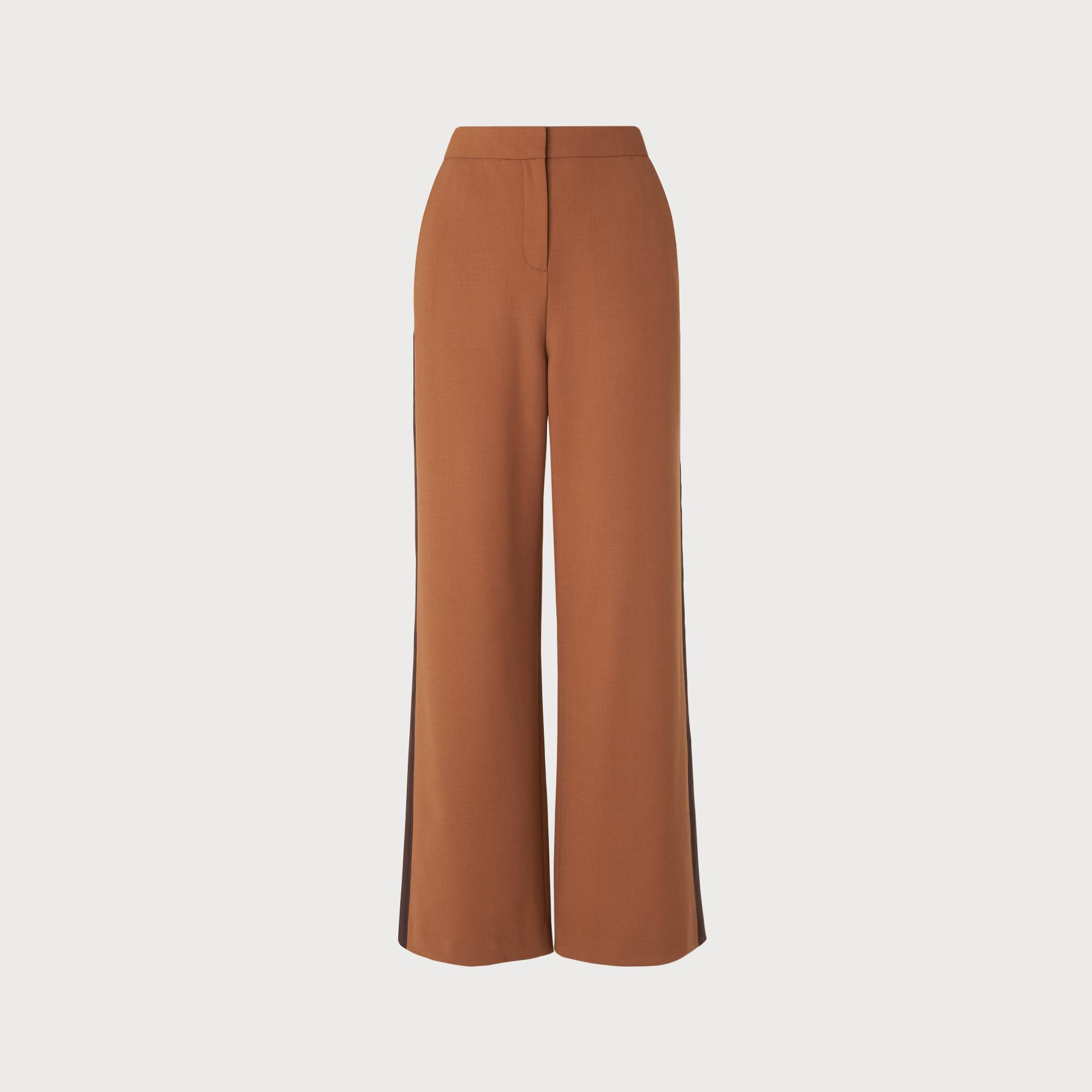 Florence Tobacco Brown Wide Leg Trousers by L.K.Bennett