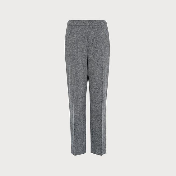 Frances Herringbone Wool Slim-Cut Trousers