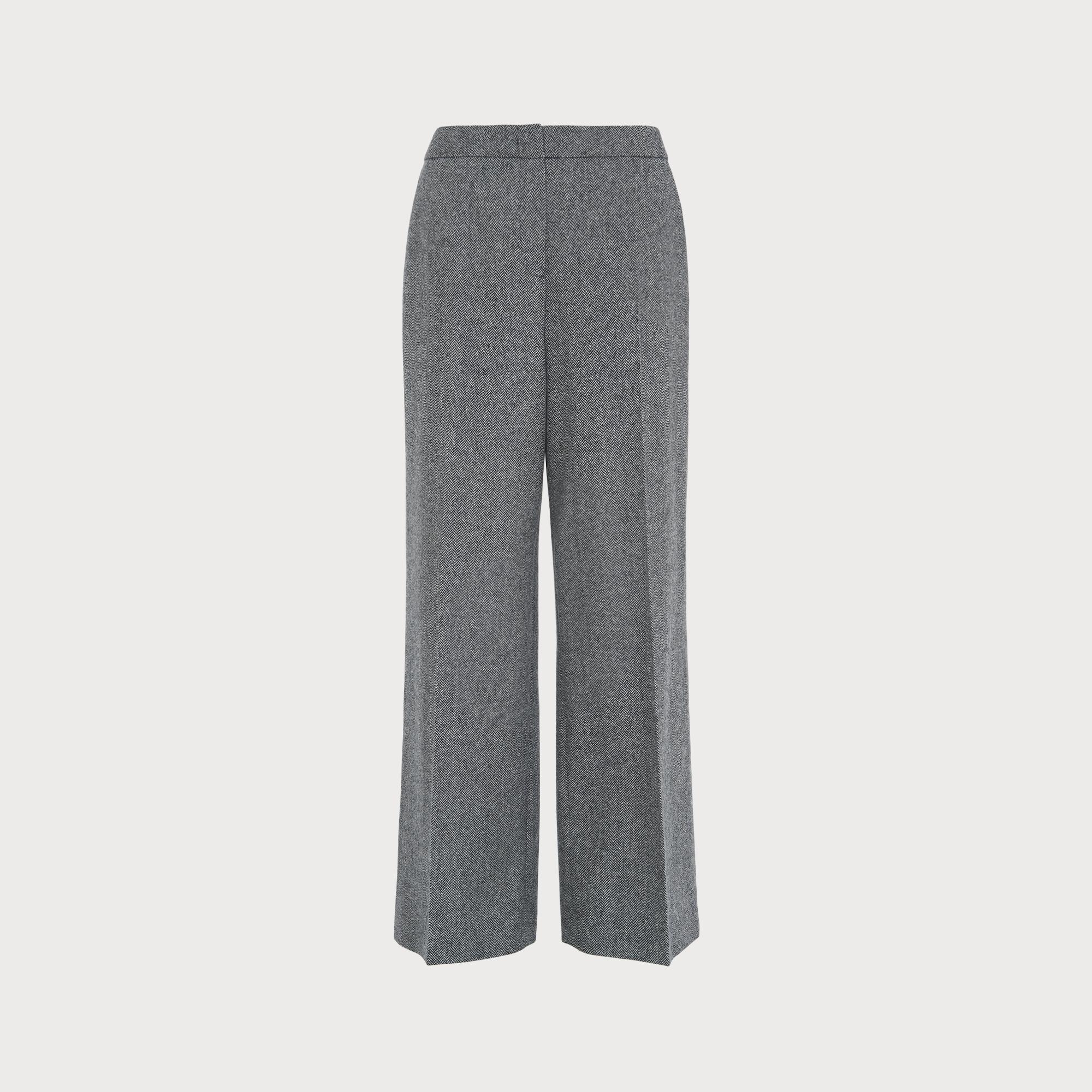 """Black Herringbone Wool Trousers Waist 38/"""" Inside Leg 34/"""""""