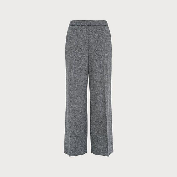 Frances Grey Wool Wide-Leg Trousers