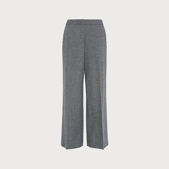 Frances Herringbone Wool Wide-Leg Trousers
