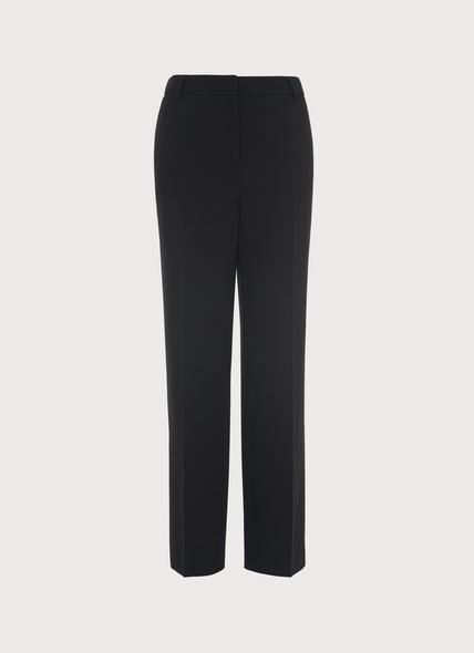 Frieda Slim Black Crepe Cigarette Trousers