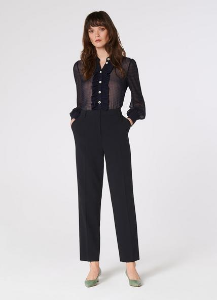 Frieda Slim Navy Crepe Cigarette Trousers