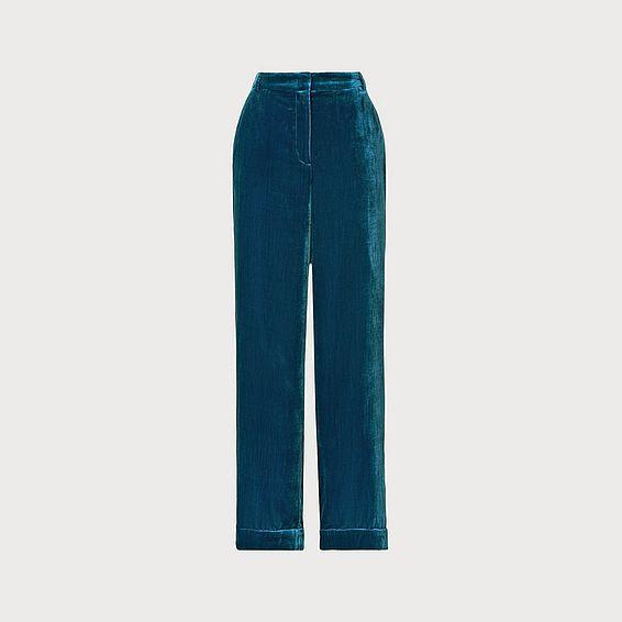 Gwendolen Teal Velvet Trousers