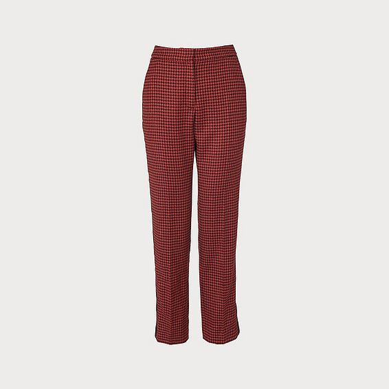 Ingrid Houndstooth Wool-Blend Trousers