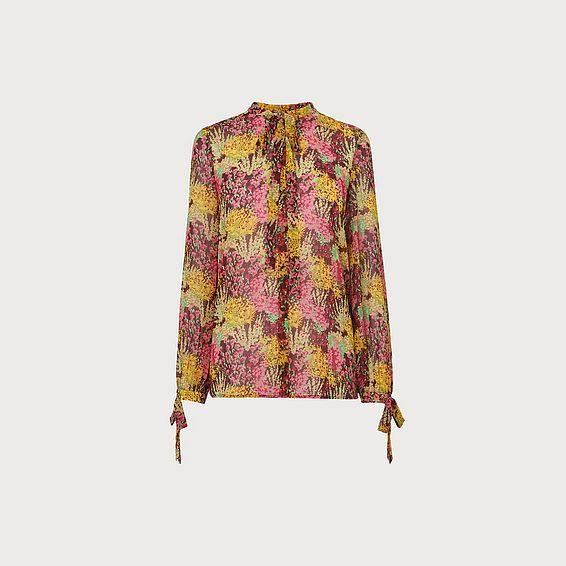 Bowie 1930's Floral Print Tie Neck Blouse