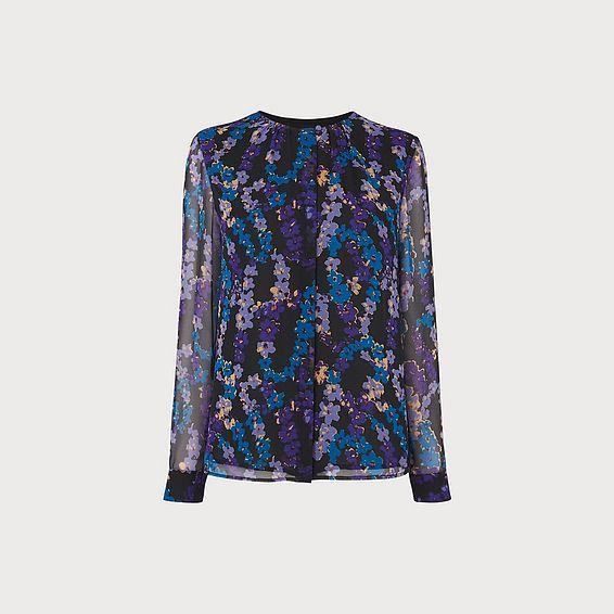 Damiell Blue Floral Print Blouse
