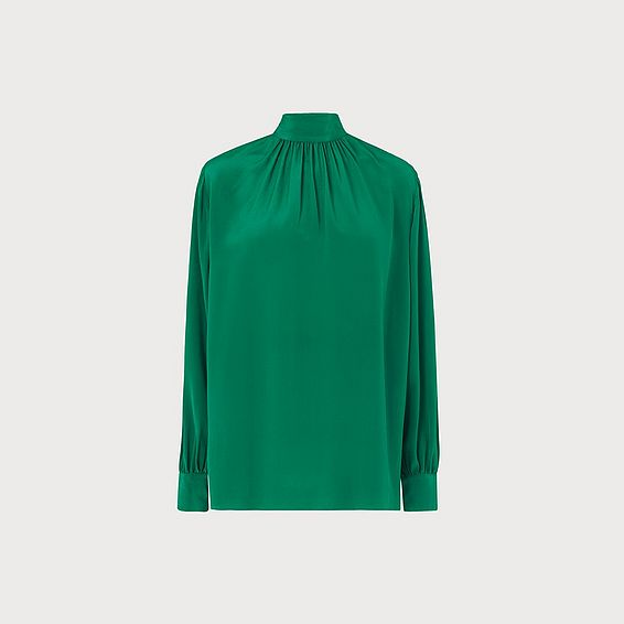 Dora Green Silk Button Back Blouse