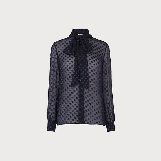 Evy Navy Burnout Spot Blouse