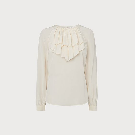 Roque Cream Silk Frill Neck Blouse