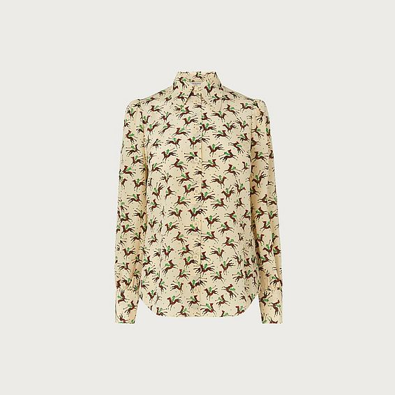 Sonya Polo Print Silk Blouse
