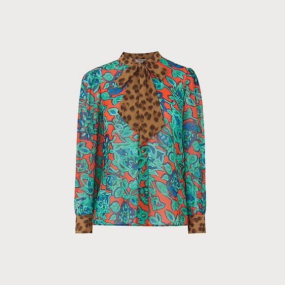 Wylie Paisley & Leopard Print Silk Blouse