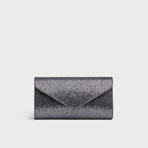 Lucia Anthracite Lurex Clutch