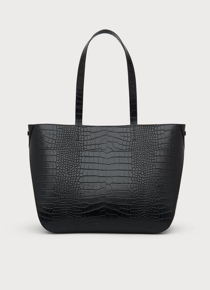 Evie Black Croc Effect Tote Bag