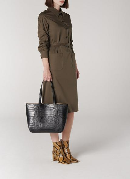 Evie Black Croc Effect Tote Bag