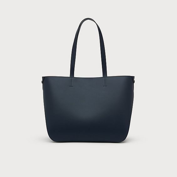 Evie Navy Leather Tote Bag