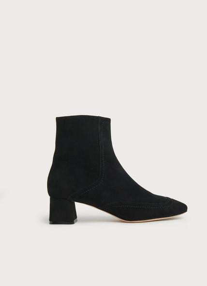 Adrianna Black Suede Ankle Boots