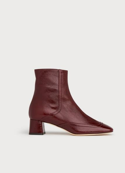 Adrianna Dark Red Crinkle Patent Ankle Boots