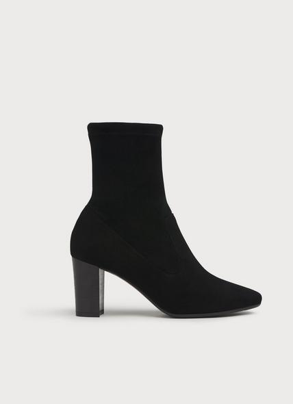 Alice Black Stretch Suede Ankle Boots