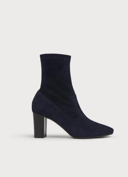 Alice Navy Stretch Suede Ankle Boots