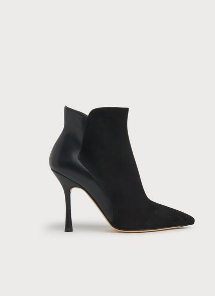 Aliyah Black Suede & Leather Ankle Boots