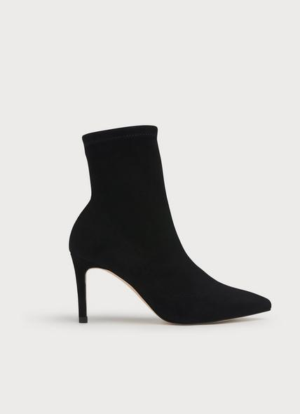 Allie Black Stretch Suede Ankle Boots