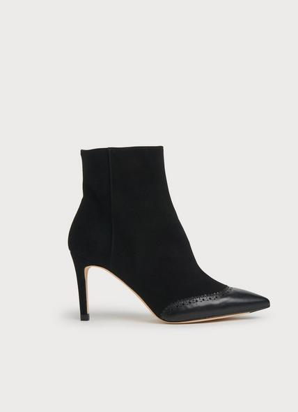 Angelica Black Suede Brogue Detail Ankle Boots