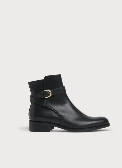 Annie Black Leather Flat Ankle Boots