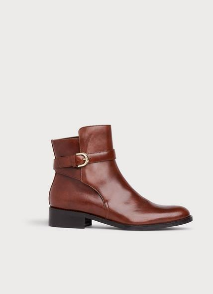 Annie Brown Leather Flat Ankle Boots