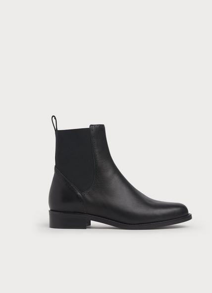 April Black Leather Brogue Chelsea Boots