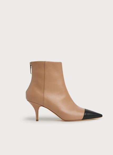 Athena Camel & Black Leather Ankle Boots