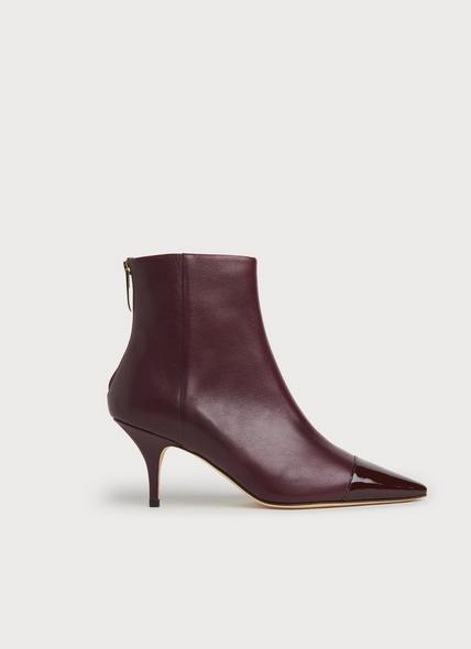 Athena Dark Red Leather & Patent Ankle Boots