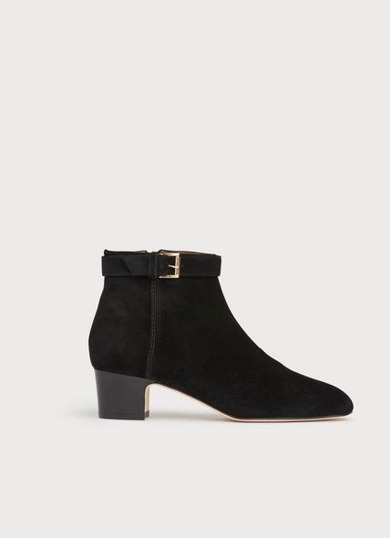 Austin Black Suede Buckle Ankle Boots