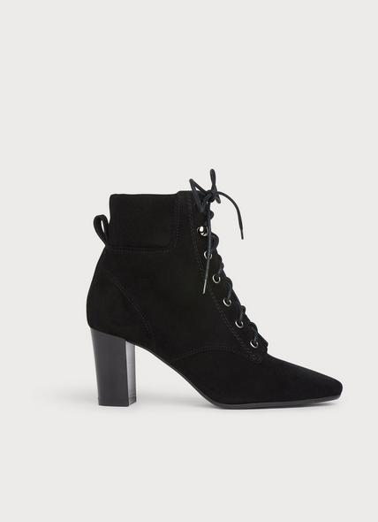 Avery Black Suede Lace-Up Boots